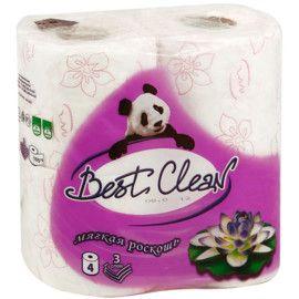 """Туалетная бумага """"Best Clean"""" Мягкая роскошь 3 сл, 4 шт"""